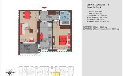 Apartament 74 – Etaj 4